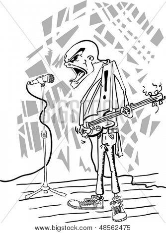 Ilustración de dibujos animados de enojado bassman punk