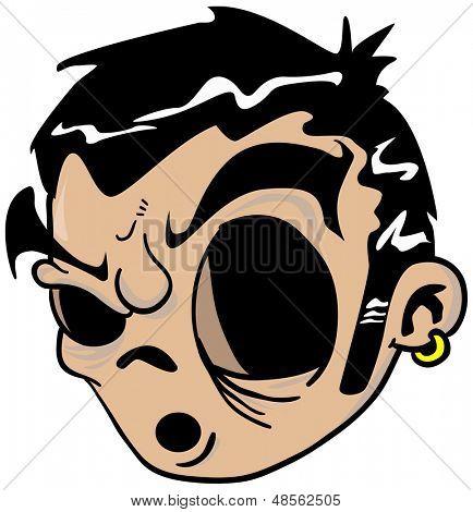 cartoon illustration of eyeless face