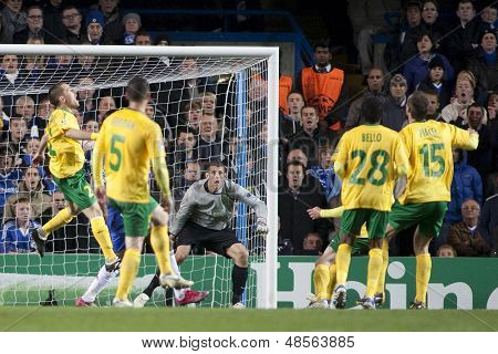 LONDON ENGLAND 23-11-2010. MSK Zilina defenders clear thier penalty area during the UEFA Champions League group stage match between Chelsea FC and MSK Zilina