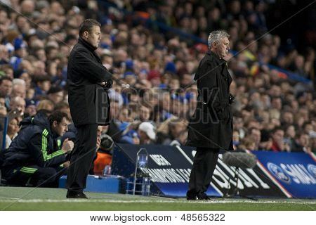 LONDON ENGLAND 23-11-2010. MSK Zilina's manager Pavel Hapal and Chelsea's manager Carlo Ancelotti during the UEFA Champions League group stage match between Chelsea FC and MSK Zilina