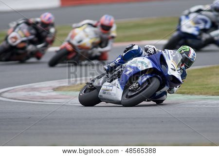 27 Sept 2009; Silverstone England: Rider number 7 James Ellison (GBR)leading in race 2 of round 11,  at the MCE Insurance British Superbike Championship