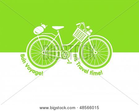 Travel bicycle postcard with picnic basket and cat