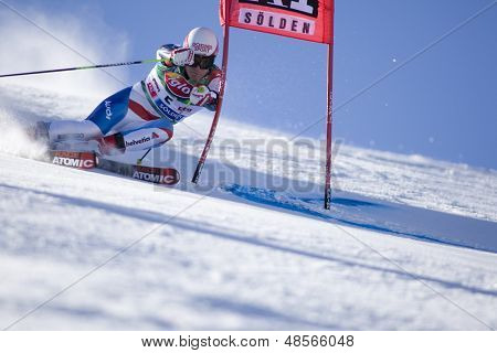 SOELDEN AUSTRIA OCT 26, Daniel Albrecht SUI  competing in the mens giant slalom race at the Rettenbach Glacier Soelden Austria, the opening race of the 2008/09 Audi FIS Alpine Ski World Cup