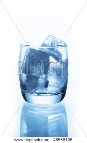 Ice Cubes In  Empty Glass