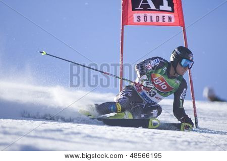 SOELDEN AUSTRIA OCT 26, Tim Jitloff USA  competing in the mens giant slalom race at the Rettenbach Glacier Soelden Austria, the opening race of the 2008/09 Audi FIS Alpine Ski World Cup