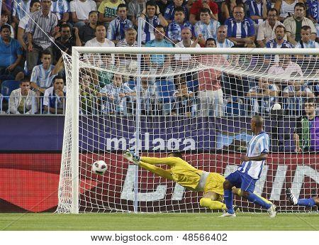 MALAGA, SPAIN. 19/09/2010.  Rodrigo Galatto the Malaga goalkeeper makes a save during the La Liga match between CF Malaga and Sevilla, played in the La Rosaleda Stadium
