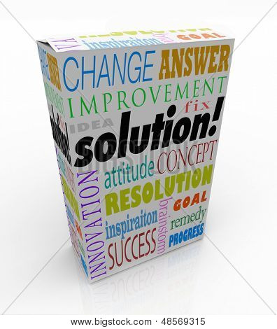 The word Solution on a product box to illustrate an off-the-shelf idea or innovation to solve your problem or challenge
