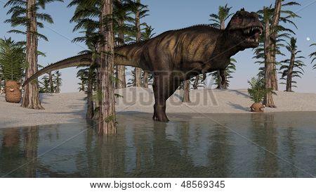 roaring tyrannosaurus