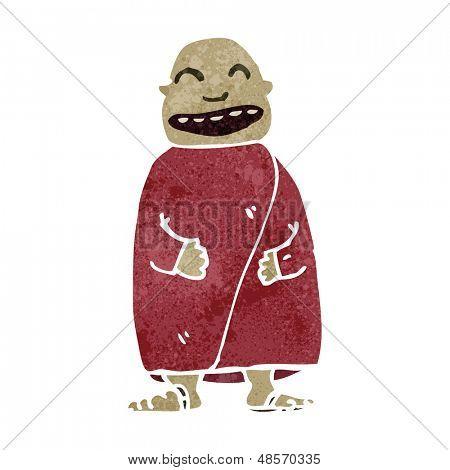 retro cartoon happy monk