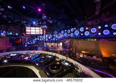MOSCOW - JAN 18: The interior of one of the rooms of the nightclub Pacha with DJ equipment  on January 18, 2013 in Moscow, Russia.