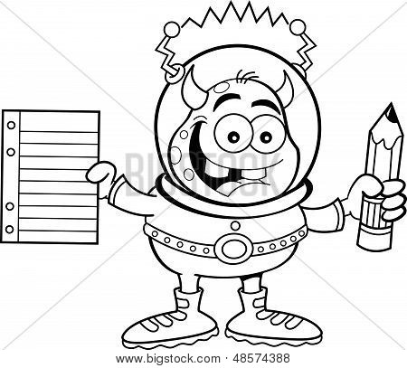 Cartoon alien holding a paper and penc