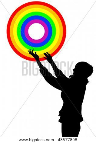 Vector drawing of a girl rainbow ring. Property release is attached to the file