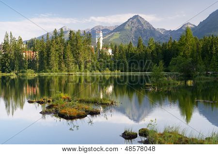 Beautiful lake in a mountain resort. Slovakia, lake Strbske Pleso less