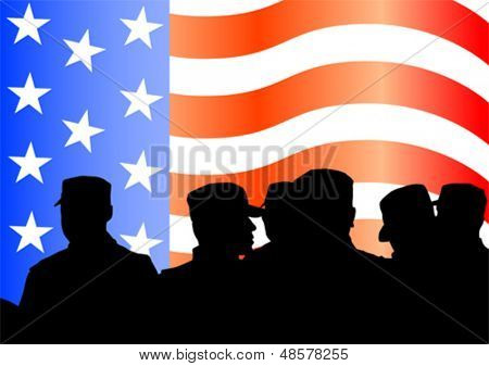 Vector drawing of a group of soldiers under American flag. Property release is attached to the file