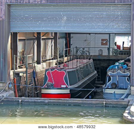 Narrow Boats in Dry Dock.