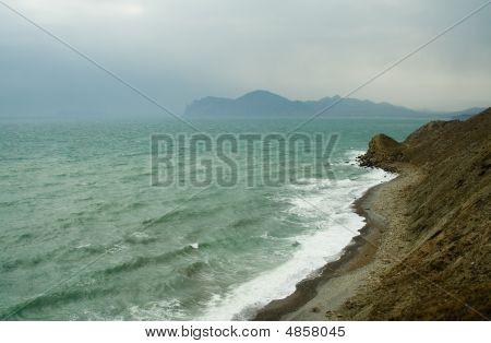 Sea Coast At Windy Weather