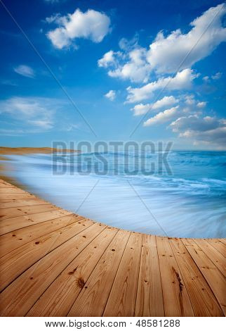 Wooden floor and blue beach in Terengganu, West Malaysia