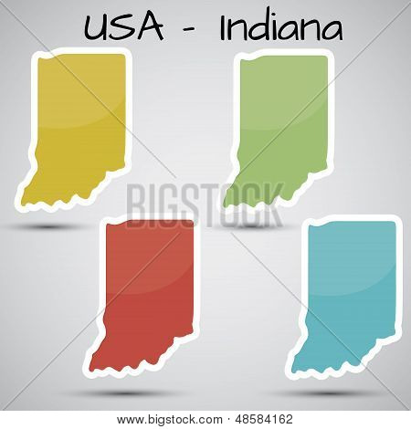 stickers in form of Indiana state, USA