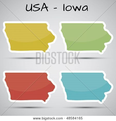 stickers in form of Iowa state, USA