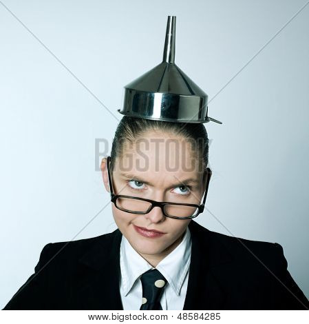 studio shot portrait of one caucasian young crazy business woman  with funnel