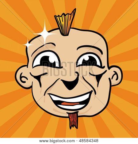 Ilustración de dibujos animados de una cara sonriente de punk