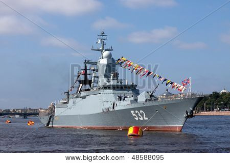 warship on the Neva river.Russia
