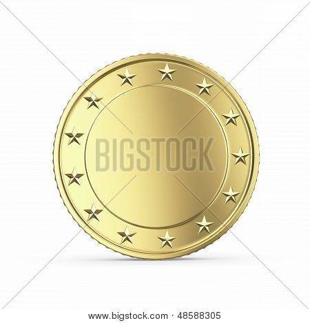 Blank golden medal 3D render
