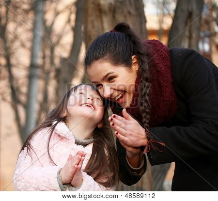 Family Moments - Mother And Child Have A Fun.