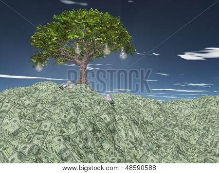 Tree with light bulbs grows out of US currency mountain