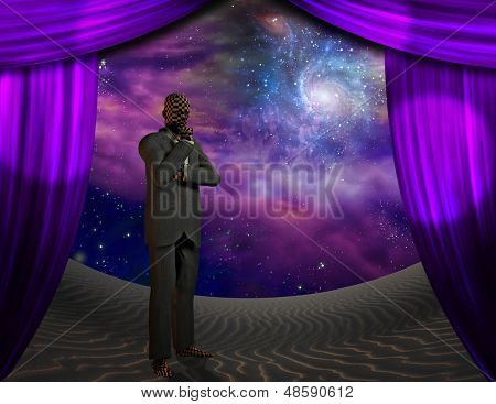Alien being behind curtains elements of this image furnished by NASA