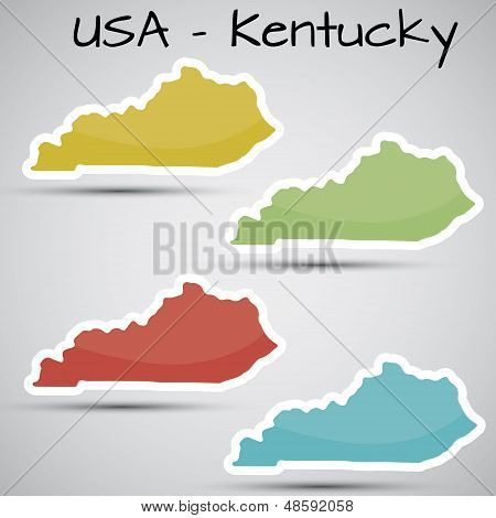 stickers in form of Kentucky state, USA