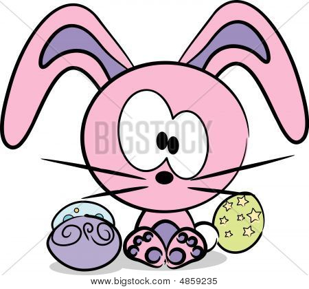 Vector Cute Easter Bunny With Three Decorated Eggs