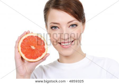 Girl With Fresh  Grapefruit