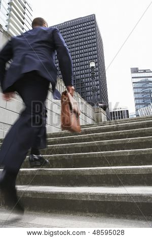 Full length rear view of a businessman with briefcase ascending steps