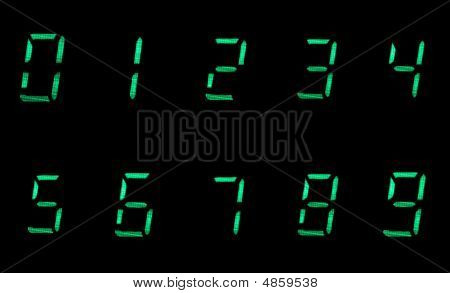 Digital Numbers In Green On Black Background