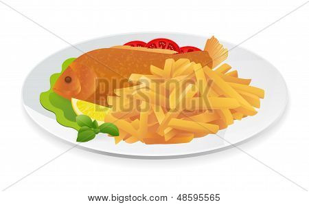 Isolated Fish and Chips on a plate