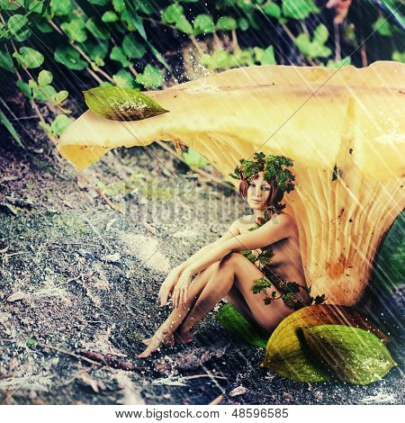 Rain In Fantasy Land. Woman Forest Nymph