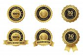 pic of 100 percent  - money back guarantee gold badge label - JPG