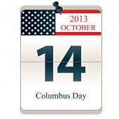 stock photo of christopher columbus  - Vector of Calendar of Christopher Columbus Day 2013 with American flag - JPG