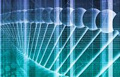 stock photo of genetic engineering  - DNA Background with a Science Helix Strand - JPG