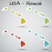 stickers in form of Hawaii state, USA