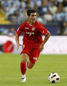 MALAGA, SPAIN. 19/09/2010. Alejandro Alfaro a Sevilla midfield player in action during the La Liga m