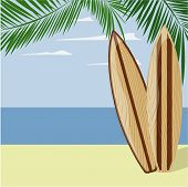 surfboards on beach background
