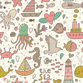 Funny summer seamless pattern with ships, jellyfish, seahorse, lighthouse, seagull, octopus, crab, w