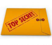 stock photo of hush  - A yellow envelope with the stamped words Top Secret to illustrate that an important - JPG