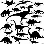 stock photo of apatosaurus  - 19 pieces of detailed vectoral dinosaur silhouettes - JPG