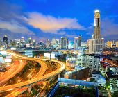 Bangkok Highway at Dusk with skyline in Thailand