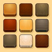Set of wood ios icons