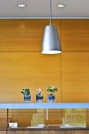 picture of light fixture  - Modern interior with light fixtures and wood panels - JPG