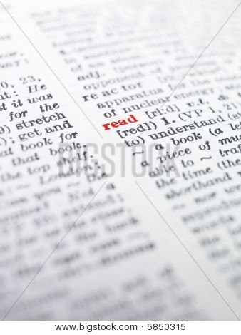 das Wort 'lesen' markierten in einem Wörterbuch